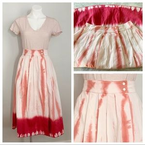 Anthropologie Ansley Tie-Dye Wrap Pink MIDI Skirt